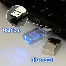 64GB USB2.0 Transparent LED Flash Memory Stick Thumb Pen Drive Data Storage Gift