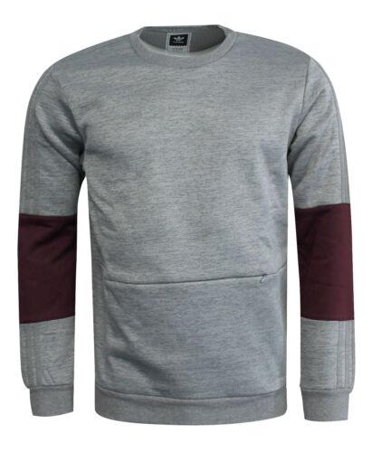 Adidas Heavyweight Crew Sweatshirt Core Long Sleeve Jumper Grey AY8720 UA126