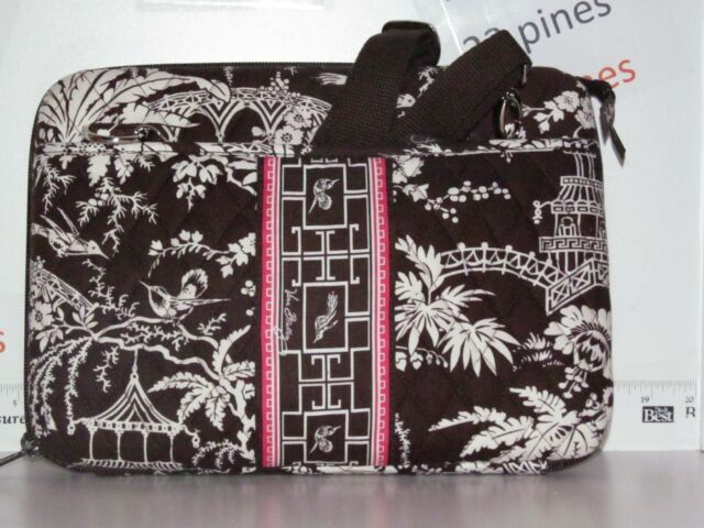 Vera Bradley Brown With Pink Imperial Toile Laptop Case Retired 12 X ... 3c4dfefd2a0f8