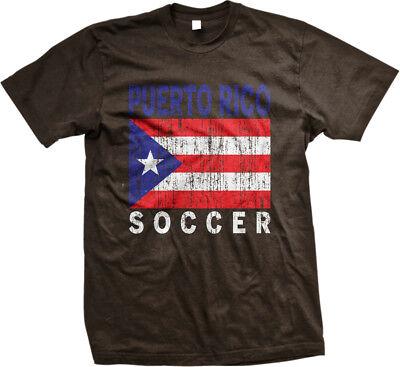 Puerto Rico Flag Colors Font Rican Soccer Heritage PRI PR Men/'s V-Neck T-Shirt