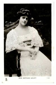 Antique RPPC postcard Miss Gertrude Elliott actress stage theatre music hall
