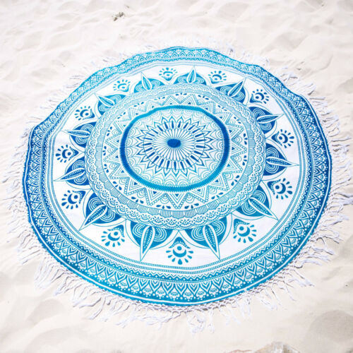Indian Ombre Round Mandala Tapestry Hippie Beach Throw Cotton Blanket Yoga Mat