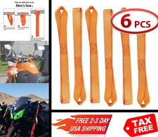 Soft Loop Tie Down Strap 6 Pack Orange for Motorcycle Snowmobile Cargo ATV UTV