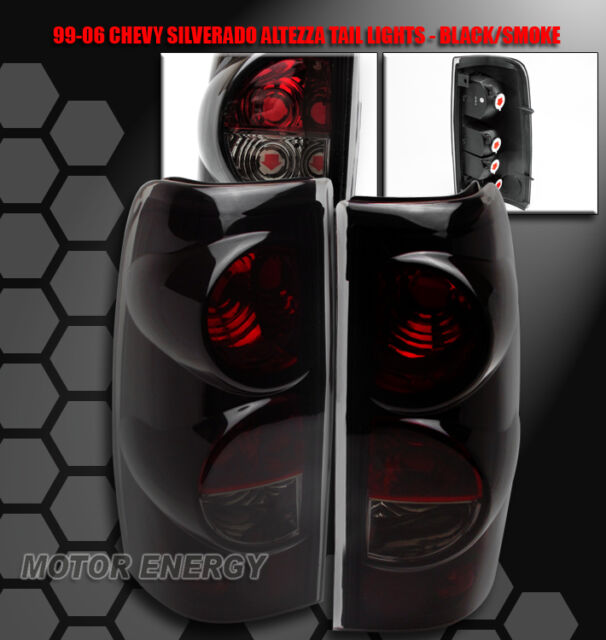 99-06 CHEVY SILVERADO/99-03 GMC SIERRA TRUCK TAIL BRAKE REAR LIGHTS BLACK/SMOKE