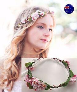 Women-Pink-flower-Girl-wedding-Bride-Party-Hair-Floral-Headband-Prop-Garland