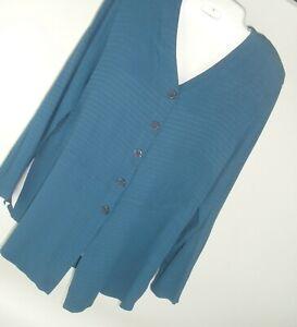 Vtg-Top-L-Caribe-Fashion-USA-Women-039-s-Blouse-shirt-blue-mod-geometric-career