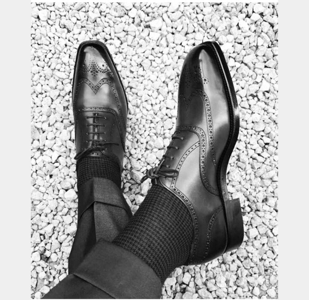 Offriamo vari marchi famosi New New New Handmade Uomo dress leather Leather scarpe,Men wing tip nero formal scarpe  outlet online economico