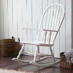 Image Is Loading Country Manor Cottage White Wood Farmhouse Rocking Chair