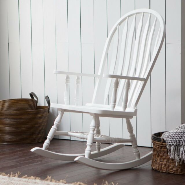 Country Manor Cottage White Wood Farmhouse Rocking Chair Nursery Rocker
