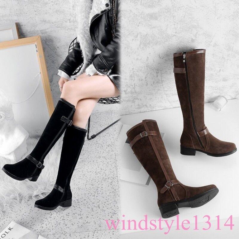 Vintage Vintage Vintage mujeres la rodilla botas altas Hebilla dedo del pie cuadrado de Gamuza Taco Plano Zapatos de cremallera lateral  venta caliente en línea