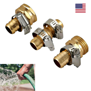 Garden-Hose-Repair-Mender-Kit-4-Stainless-Clamps-Solid-Brass-Fittings-Fix-5-8-034