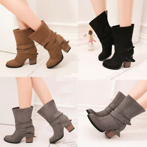 LADIES SMART TAN BOOTS WOMENS FAUX SUEDE BLOCK HEEL ANKLE HIGH BOOT SHOES SIZE