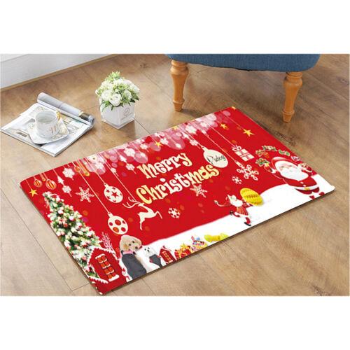 Christmas Santa Claus Anti-slip Kitchen Room Floor Mat Decor Carpet Mat Xmas Rug