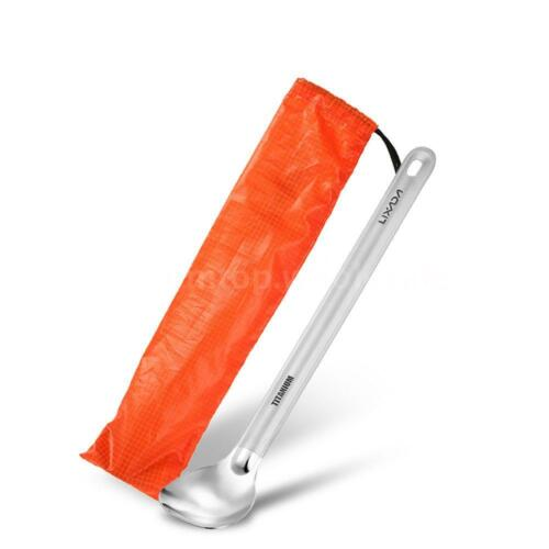 Lixada Titanium Long Handle Spoon with Polished Bowl Outdoor Camping US B1I4