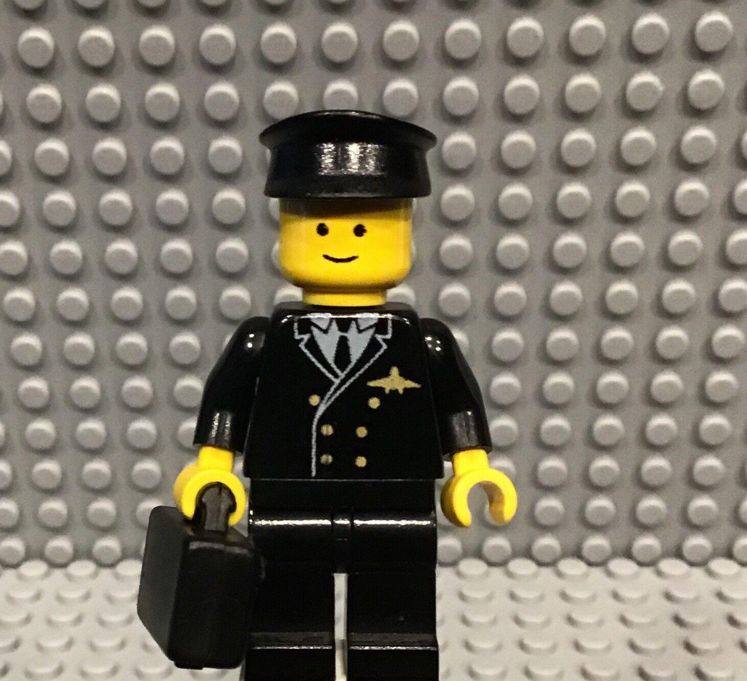 Lego Línea de Aire Piloto black Traje con Sombrero y Maletín Maleta Lazo black