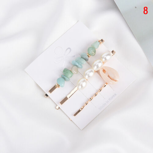 3pc Women Girl Baroque  Pearls Shell Stone Starfish Hair Clip Barrettes HairLDU
