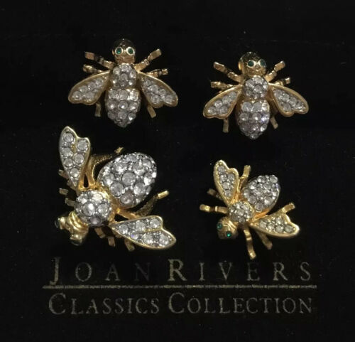 JOAN RIVERS COLLECTION SET OF TWO CRYSTAL BEE PINS