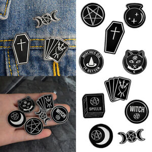 Fashion-Gothic-Enamel-Cat-Badges-Brooches-Punk-Collar-Lapel-Pin-Black-Jewelry