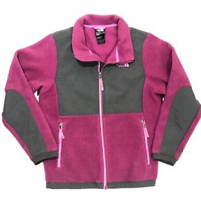 45400c273 Details about The North Face Youth Girls Full Zip Soft Fleece Jacket Purple  Gray Large 14-16