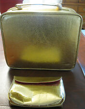 Estee Lauder Gold Plastic Cosmetic Make Up/Train Case with Make Up Bag