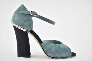 66b00c2eff2 NIB Chanel 18C Blue Green Suede Pearl CC Black Ankle Strap Sandal ...
