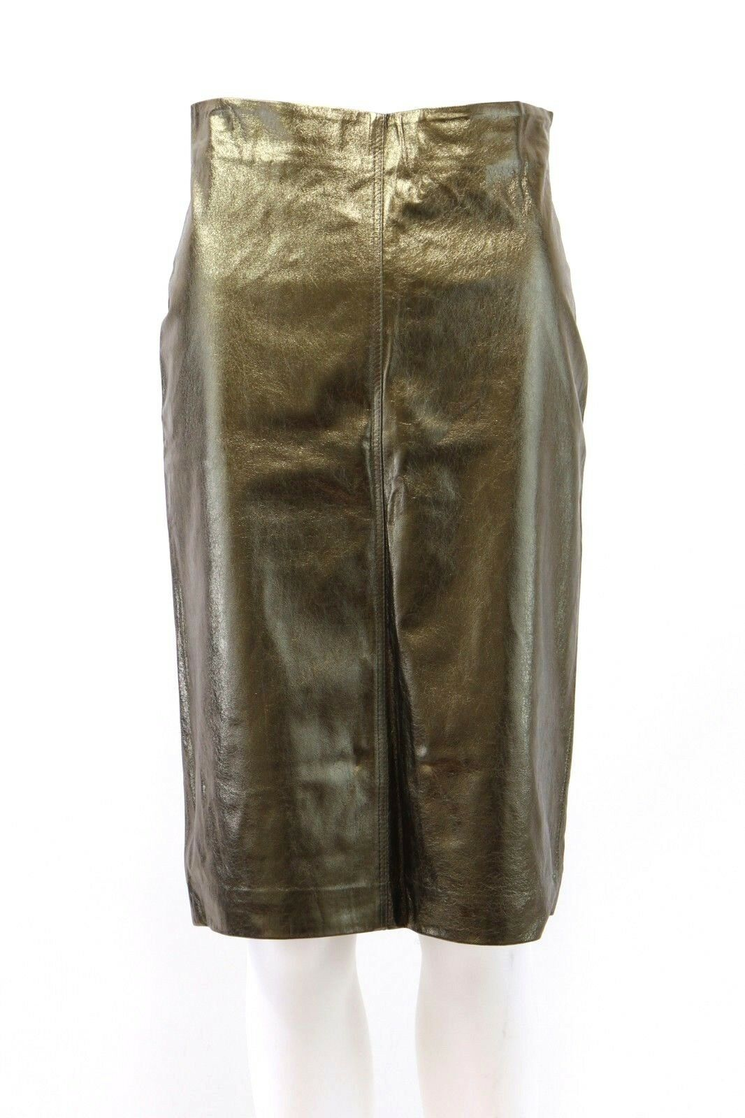 NWT 2695 Brunello Cucinelli 100%Leather Textured Metallic gold Pencil Skirt A181