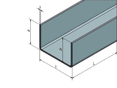 V4A Edelstahl U-Profil kaufen L=2000 mm Breite c 35mm 70mm Außen Schliff K320