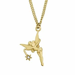 Disney-039-s-Tinker-Bell-Pendant-with-Diamond-in-10K-Gold-Plated-Sterling-Silver