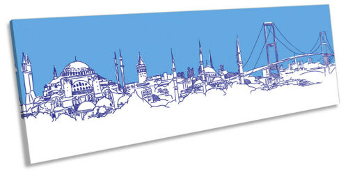Istanbul City Skyline Blue PANORAMA CANVAS WALL ARTWORK Print Art