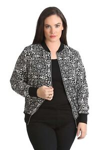 New-Ladies-Bomber-Jacket-Plus-Size-Womens-Moroccan-Print-Ribbed-Varsity-Nouvelle