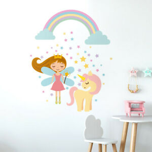 Fairy-Wall-Decal-Unicorn-Wall-Decal-Sticker-Rainbow-Stars-Wall-Decal-Girls-Room