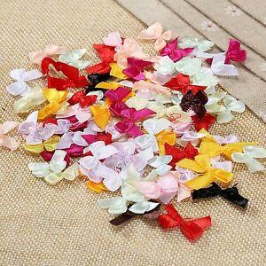 100pcs Hot Mini Satin Ribbon Bows DIY Craft Clothes Sewing Wedding Decoration 602815780704