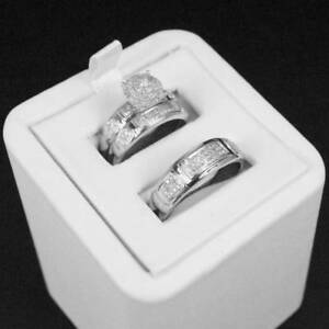 Diamond-Wedding-14K-White-Gold-Fn-Trio-His-Her-Bridal-Band-Engagement-Ring-Set
