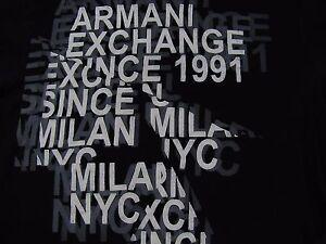 ARMANI-EXCHANGE-Black-100-Cotton-Short-Sleeve-Graphic-T-Shirt-Size-Small