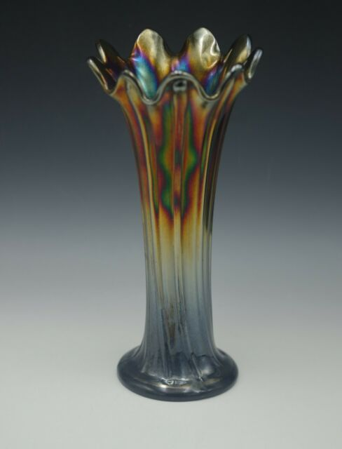 NORTHWOOD CARNIVAL GLASS ANTIQUE THIN RIB ELECTRIC SWUNG VASE 10