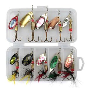10-Fishing-Lure-Spinnerbait-bass-truite-saumon-metal-dur-Spinner-Baits-Kit-W-Box