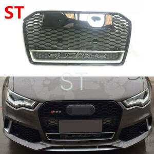 For Audi A6 C7 2016 2018 Black Front Mesh Grille Grill To Rs6