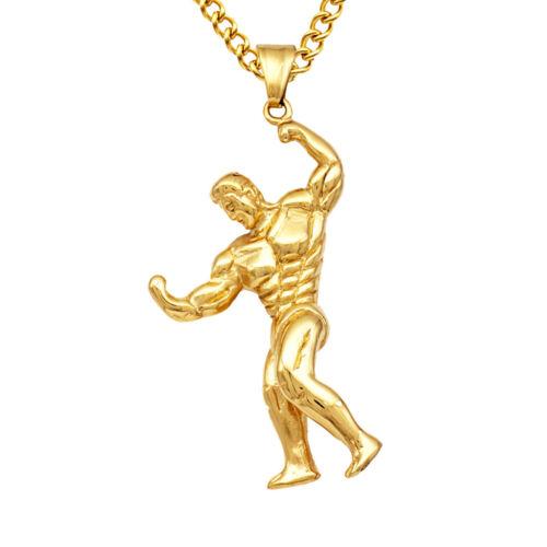 Muscle Men Stainless Steel Pendant Necklace for Men Boys Punk Biker Jewelry