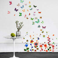 Wall Stickers Mural Decal Paper Art Decoration Colouful Flowers Butterflies Room