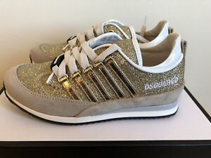 Dsquared 2 Girls Gold Glitter Crosta Sweet Trainers In Kids Size 12 ... db5ebbc014df
