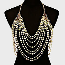 LUXE Celeb Statement Gold Pearl Necklace Body Chain By Rocks Boutique