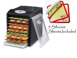 OPEN-BOX-Samson-Silent-9-Stainless-Steel-Tray-Dehydrator-w-9-Silicone-Sheets
