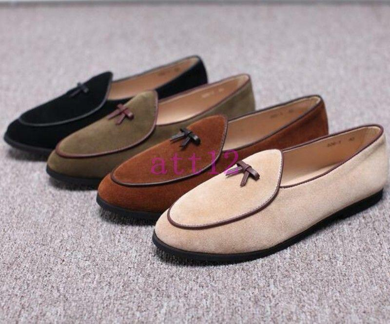 New Mens Leather Slippers Loafers Slip on Flats With Bowtie Belgian Dress shoes
