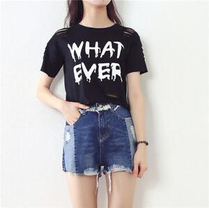 3fb3f922851 Women s Black And White Letter Print T Shirt Tee Top Crop Tank Short ...