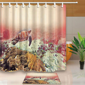 Image Is Loading Coral Reef Bottom And Sea Turtle Shower Curtain
