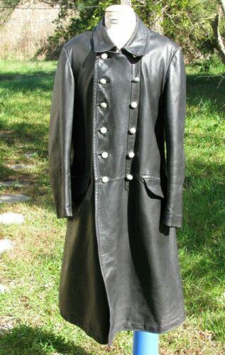 1930s  German black  leather coat  sz 38 Medium