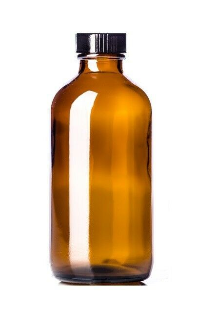 8 Oz AMBER Boston Round Glass Bottle (240 ml) w/ Poly Seal Cone Cap - Pack of 12