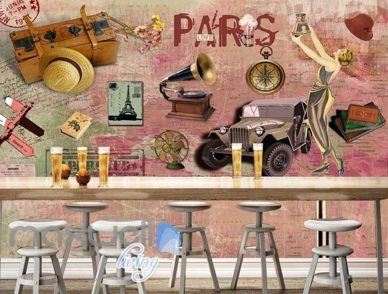 3D Graffiti Vintage Paris Jeep Phonograph Art Wall Murals Wallpaper Decals Print