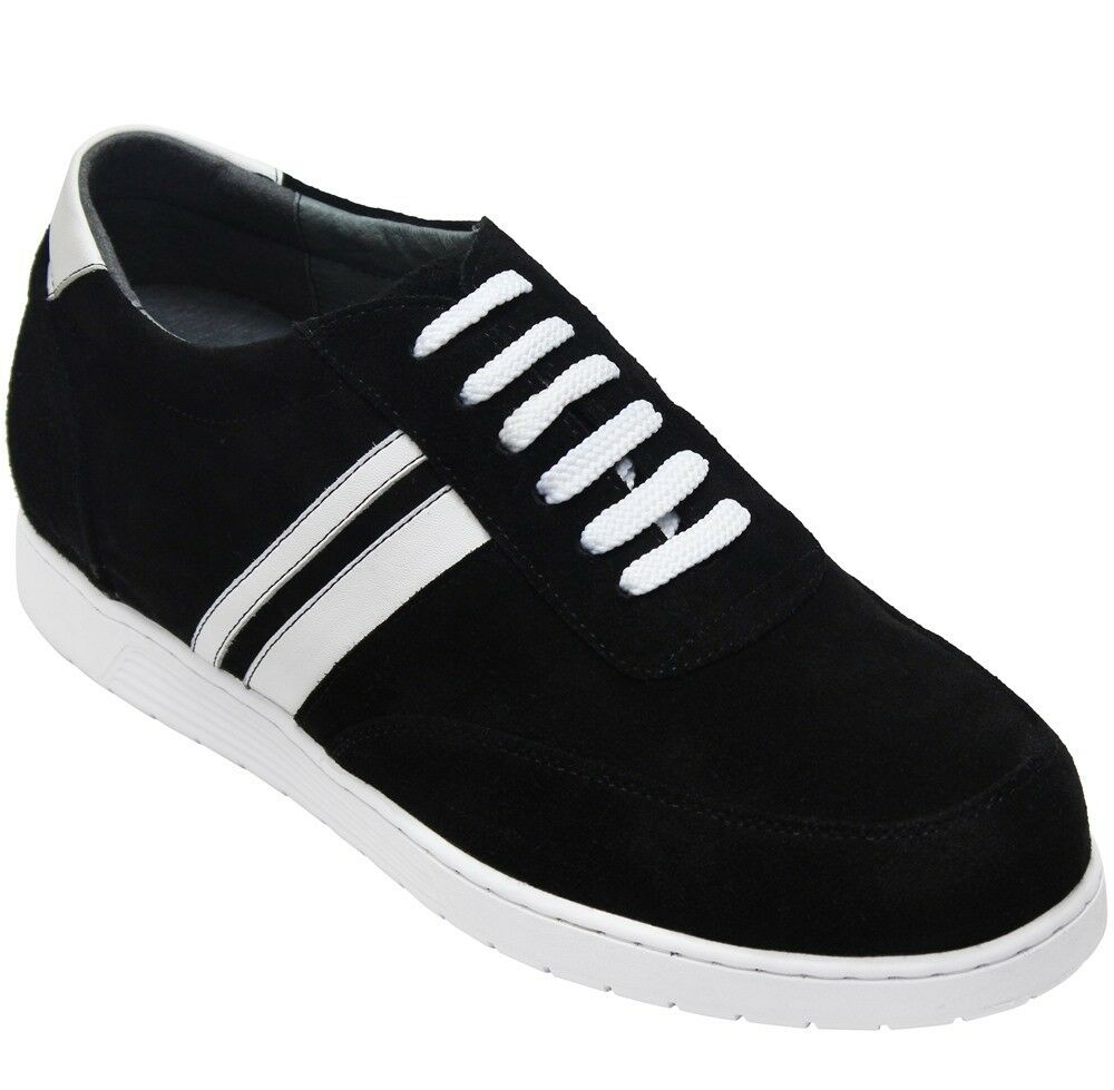 CALTO Y2822 - 2.8 Inches Height Increase Elevator Black Casual Sporty Sneakers