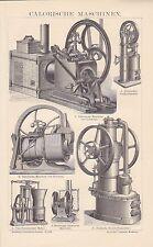 Wärmekraftmaschinen Heißluftmotor Ericssonmotor HOLZSTICH von 1883